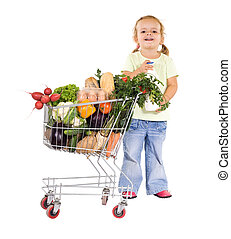 Little girl with groceries - Little girl shopping healthy...