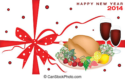 New Year Gift Card with Christmas Dinner - A White Card of...