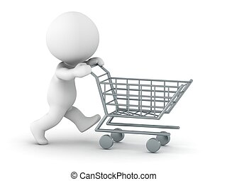 3D Man pushing shopping cart - A 3d guy running pushing a...