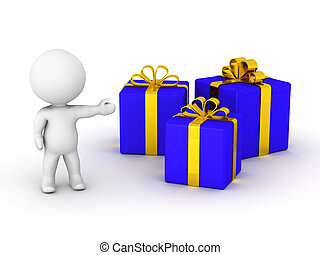 3D man showing wrapped gifts - A 3d guy showing three blue...