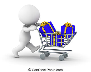 3D Man with shopping cart with gift - A 3d guy pushing a...