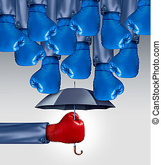 Avoid Competition business concept as a group of blue boxing...