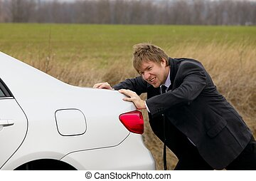 Pushing car - Pushing a broken down car