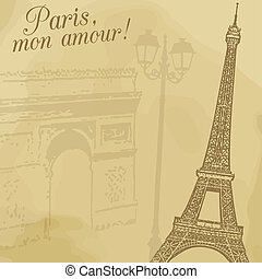 Paris vintage poster - A background with wiffel tower and...