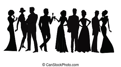 social gathering - large crowd of people in silhouette