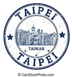 Taipei stamp - Grunge rubber stamp with the name of Taipei...