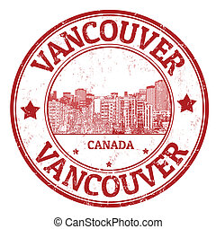 Vancouver stamp - Red grunge rubber stamp with the name of...