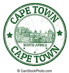 Cape Town stamp - Grunge rubber stamp with the name of Cape...