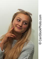 Youth Considers Options - A lovely young lady appears...