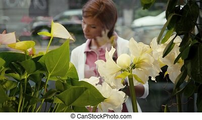 man in flower shop helping customer - mid adult man working...