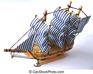 Ship model - Handmade ship model from Greece on white...
