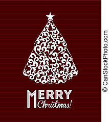 Christmas tree over redwine background vector illustration