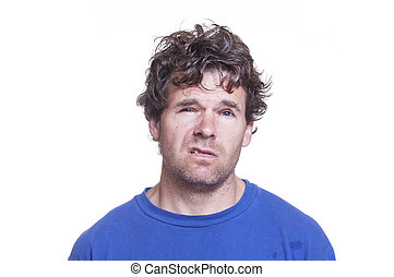 Drunk loser - Mugshot of messy scruffy drunk Caucasian man...