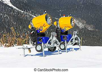 Snow cannons 2 - Two cannons for snow making at mountain