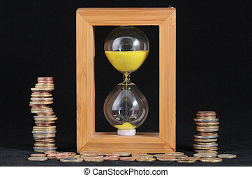 Time is money concept - Huorglass and Money - Time is Money