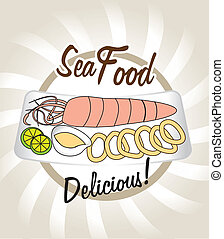 sea food over pattern background vector illustration