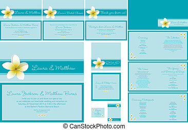 Wedding Stationery - Beach themed frangipani Wedding...