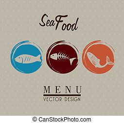sea food over gray background vector illustration