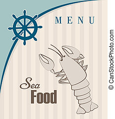 sea food over lineal background vector illustration