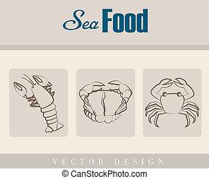 sea food over beige background vector illustration