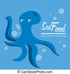 sea food over blue background vector illustration