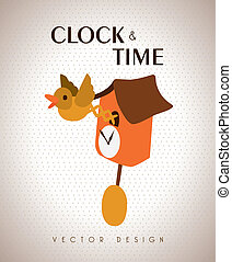 clock and time design - time design over beige background...