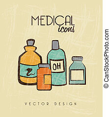 medical icons over beige background vector illustration