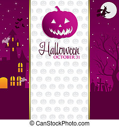 Happy Halloween - Jack o Lantern Halloween invitation card...