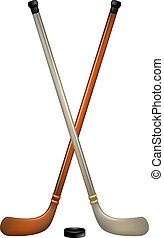Two crossed ice hockey sticks and puck on white background