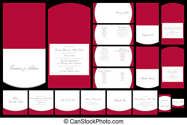 Wedding Stationery - Red and silver wedding stationery set...
