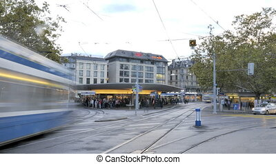 Trams in Zurich in Motion - Trams are a popular way to...