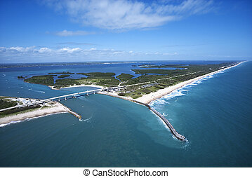 Melbourne Beach, Florida. - Aerial view of Indian River...