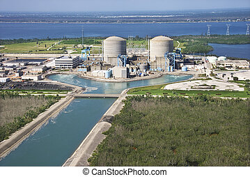 Nuclear power plant. - Aerial view of nuclear power plant on...