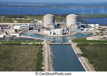 Power plant. - Aerial view of nuclear power plant on...