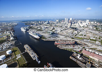 Tampa Bay Area - Aerial view of Tampa Bay Area, Florida with...
