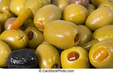 Green olives stuffed with pepper, orange and garlic