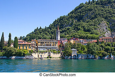 Lake Como - Panoramic view of Varena town Como lake, Italy