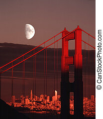 Moon Over Golden Gate Bridge San Francisco City Skyline...