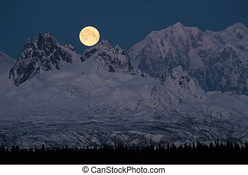 Full Moonrise over Mount McKinley Denali Range Alaska...