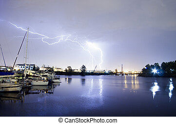 Thunderstorm Lightning Over Thea Foss Waterway Boats Tacoma...