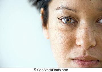 Woman close up portrait - Close up portrait of young...