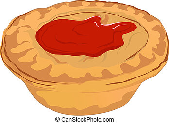 Meat Pie with Tomato Sauce - A vector illustration of a meat...