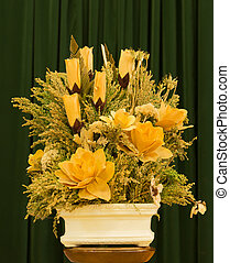 Yellow Dry Flower - Bright Yellow dried flower arrangement.