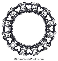 Round openwork lace border with hearts.