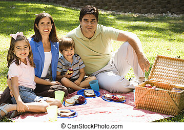 Family picnicking - Hispanic family picnicking in the park...