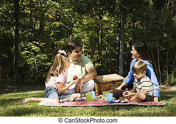 Family picnic. - Hispanic family picnic in the park.