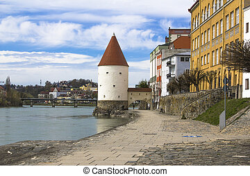 Passau - Old Tower in Passau on river bank, Bavaria, Germany