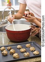 Making cookies.