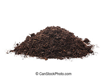 Soil on isolated white background - handful of soil on a...
