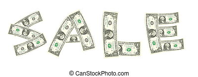 Sale word from dollar bill